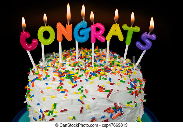 Congrats Candles On Cake Colorful Congrats Candle On