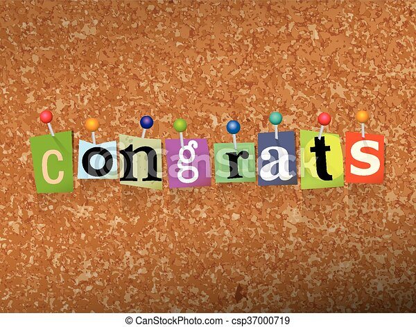 Congrats Concept Pinned Letters Illustration - csp37000719