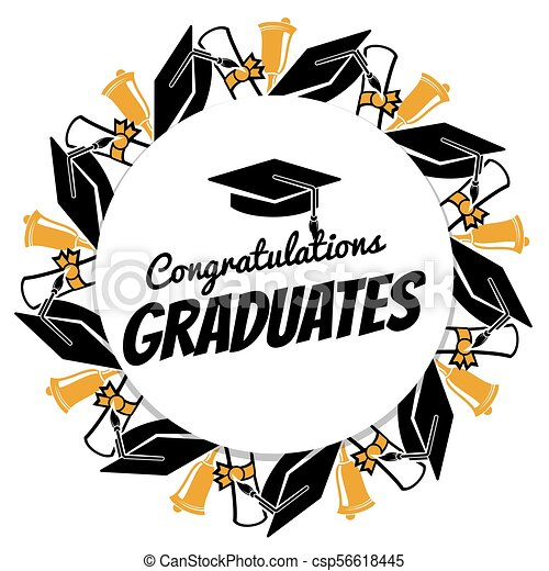 congrats graduates round banner with students accessorises eps rh canstockphoto co uk congrats clipart animated congrats clip art free