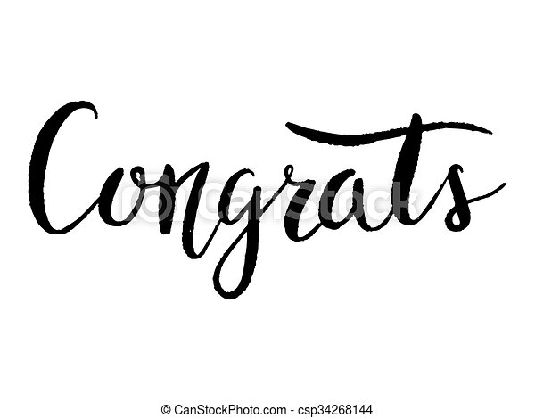 congrats hand lettering modern calligraphy black text on white rh canstockphoto com congrats clip art images congrats clipart animated