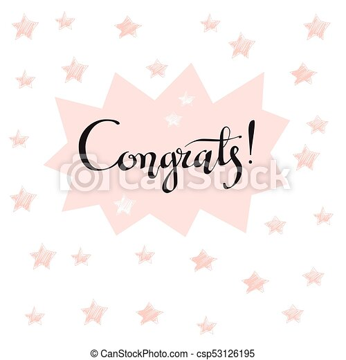 photo relating to Congratulations Card Printable titled Congrats hand penned lettering for congratulations card, greeti
