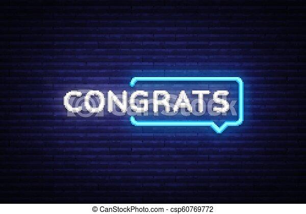 congrats neon text vector congrats neon sign design template