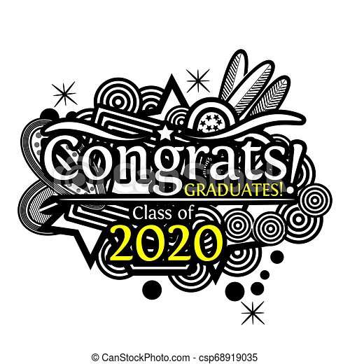 Graduation Background 2020.Congrats On Graduation Class Of 2020 On Doodle Background