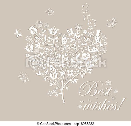 Congratulation card with beautiful tree - csp18958382
