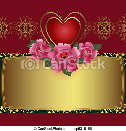 Congratulation card with red heart  - csp9316166