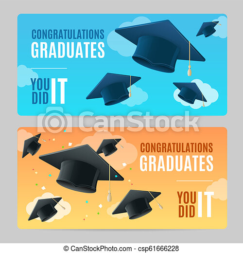 congratulation graduates banner horizontal set with realistic