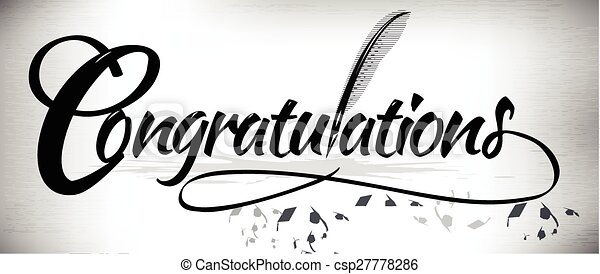 congratulation text banner congratulations text banner with quill