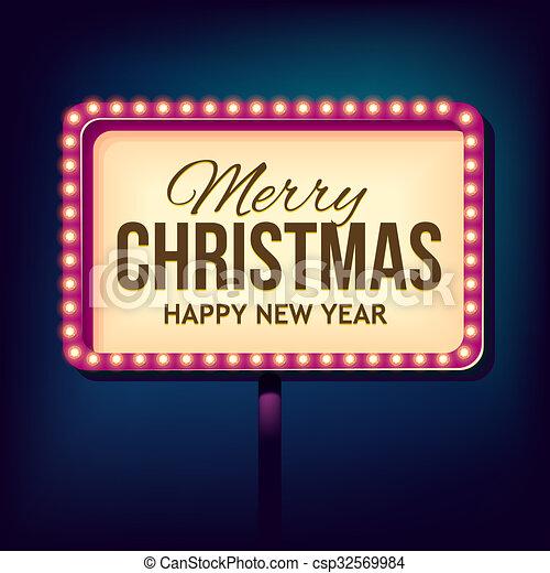 Congratulation To Christmas With Night Retro Lights Night 3d Sign