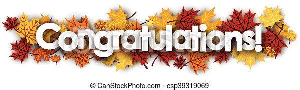 congratulations banner with maple leaves congratulations autumn