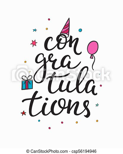 Congratulations Birthday Party Lettering Quote