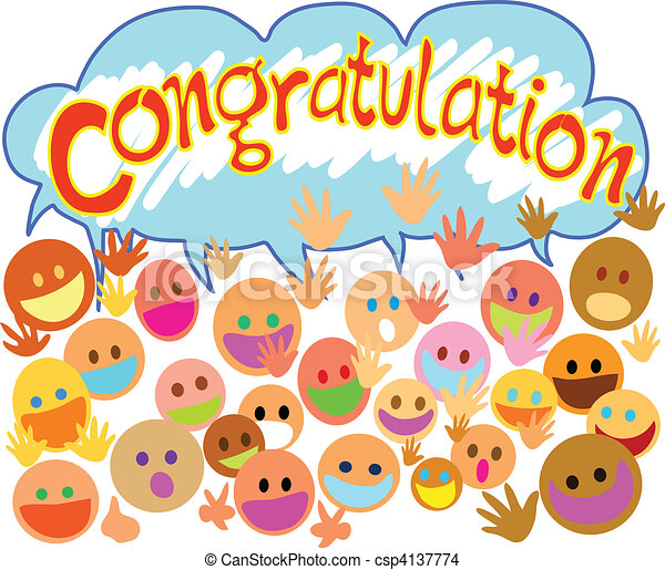 congratulations many people happy face saying congratulation with you