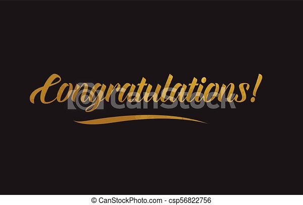 Congratulations gold word text illustration typography - csp56822756