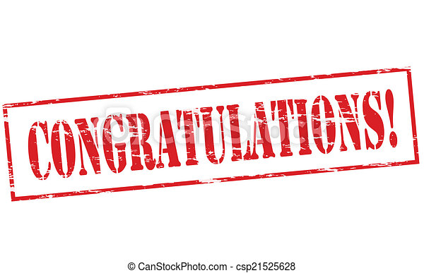 congratulations rubber stamp with word congratulations inside