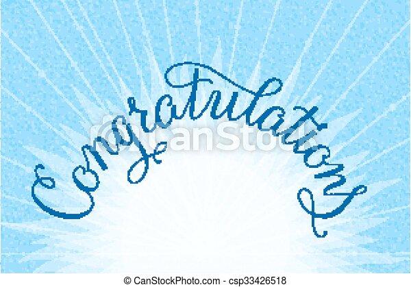 Congratulations Lettering Illustration Hand Written Design On A Lite