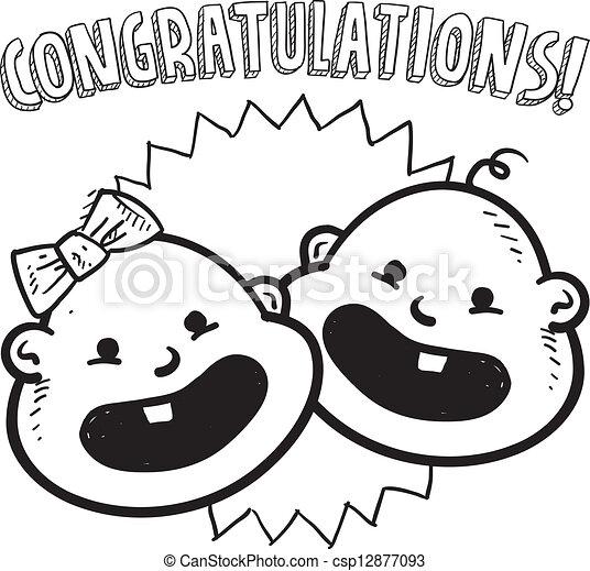 Congratulations New Baby Sketch Doodle Style Congratulations On