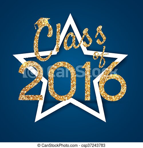 Congratulations on graduation 2016 class of. Graduation Party, Congrats, Celebrate, High School / College Graduation. Vector illustration on blue background. - csp37243783