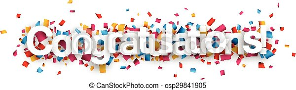 Congratulations paper confetti sign. - csp29841905