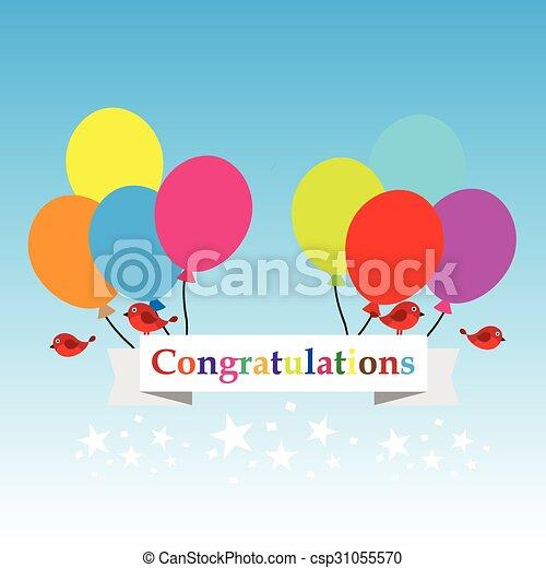 congratulations sign has balloons and birds vector