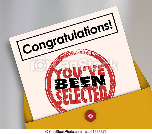 Congratulations You've Been Selected Stamp Official Letter - csp21588678
