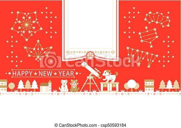 congratulatory, 観察, 写真, 天文, 犬, 年の, テンプレート, 年, 新しい, フレーム, カード, 幸せ - csp50593184