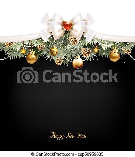 coni abete, festivo, albero, fondo, palle, natale - csp50959835