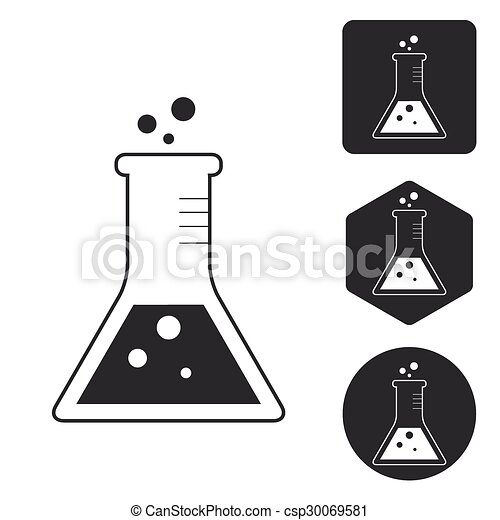 Conical flask icon set, monochrome - csp30069581