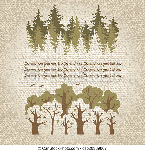 conifère, à feuilles caduques, vert, illustration, fores - csp20389867