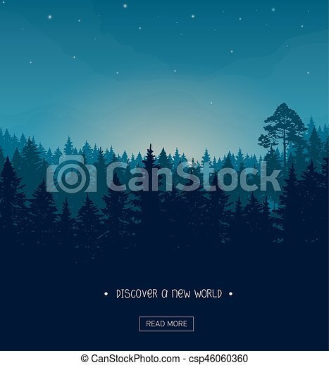 Coniferous forest silhouette template. Coniferous forest silhouette ...