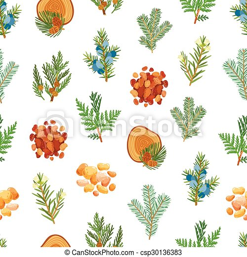 Coniferous, pine, wood and resin seamless pattern - csp30136383