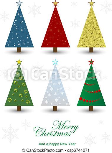 Un juego de árboles de Navidad - csp6741271