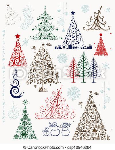 Conjunto rboles navidad dise o decoraciones su - Arbol navidad diseno ...