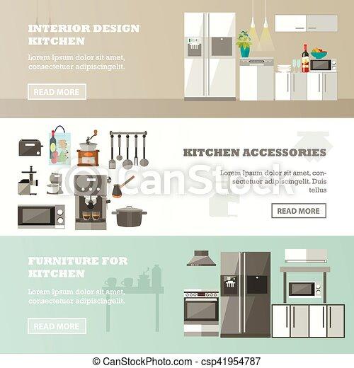 Un grupo de carteles con interiores de cocina, accesorios y muebles - csp41954787