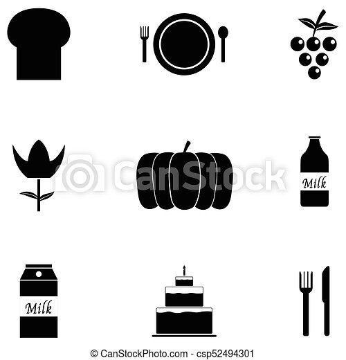 Juego de iconos de Acción de Gracias - csp52494301