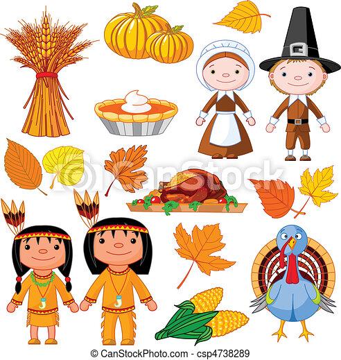 Juego de iconos de Acción de Gracias - csp4738289