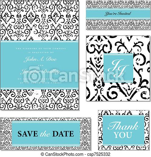 Vector angustió el marco floral de la boda - csp7525332