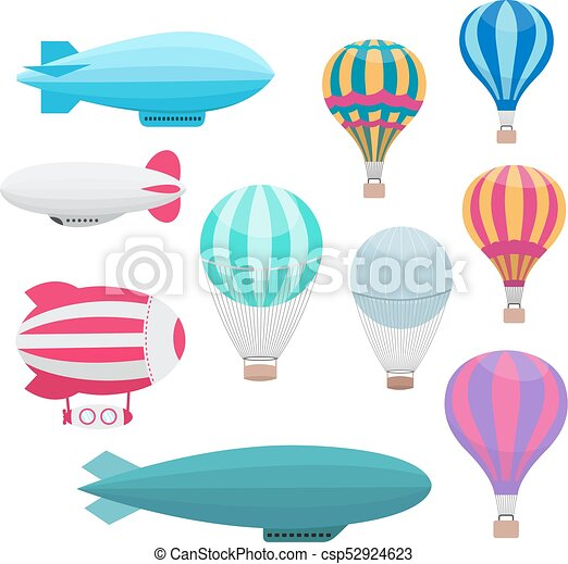Conjunto, aire, caliente, vector, globos, caricatura. Transporte ...