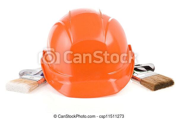 Un conjunto de herramientas de construcción aisladas en el fondo blanco - csp11511273