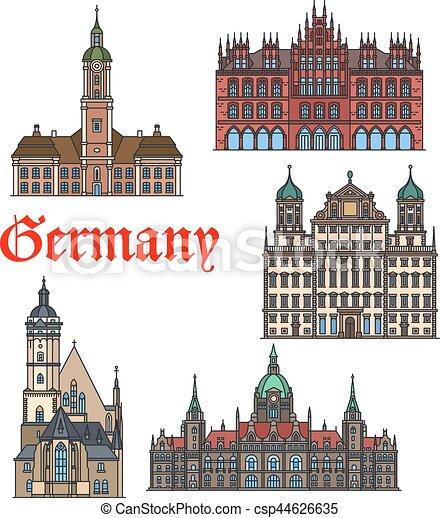 Un icono de línea fina marcada por los alemanes - csp44626635