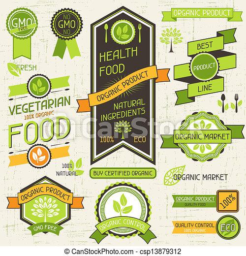 Pancartas de comida orgánicas. Un conjunto de etiquetas y pegatinas. - csp13879312