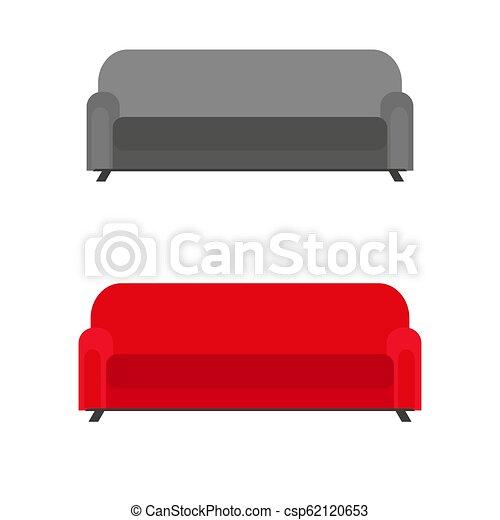 Un conjunto de sofás con almohadas aisladas en fondo blanco - csp62120653