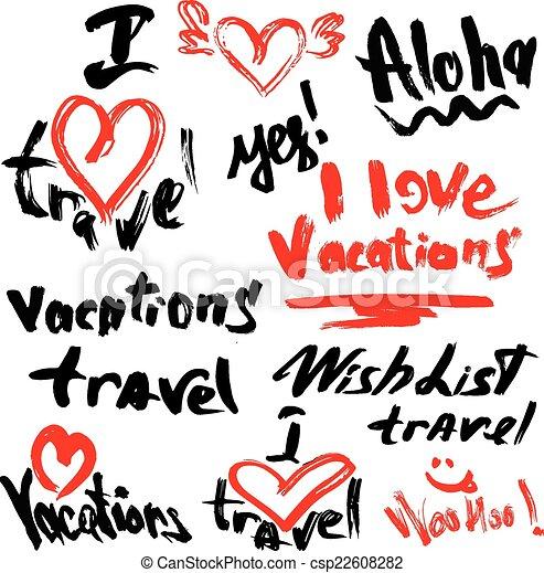 Conjunto Amor Trave Texto Escrito Mano Vacaciones