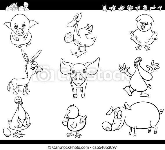 Animales De Granja De Dibujos Animados Pusieron Libros De