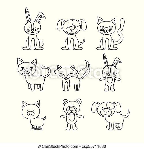 Antecedentes blancos con animales dibujados a mano - csp55711830