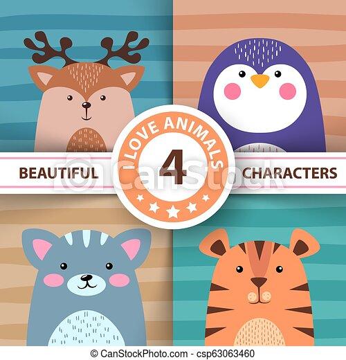Los dibujos de animales, ciervos, pingüinos, gatos, tigres - csp63063460