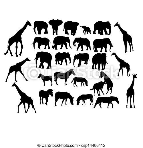 Un grupo de animales de safari - csp14486412