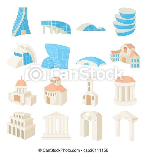 La arquitectura puso iconos - csp36111156