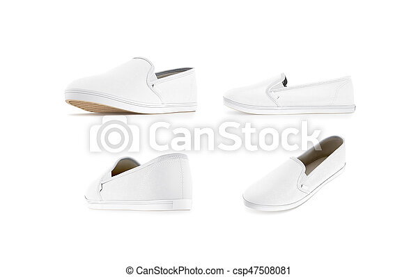 diseño de calidad 4f75d 0a17d conjunto, arriba, aislado, zapato sin cordones, blanco, blanco, simulado
