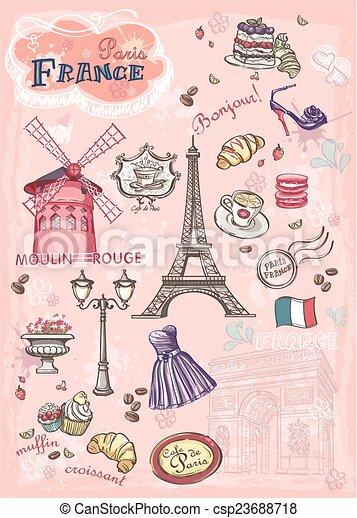 Un conjunto de imágenes de varias atracciones, París, Francia - csp23688718