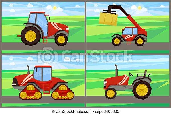Apilador de bale y tractor establece ilustración vectorial - csp63405805
