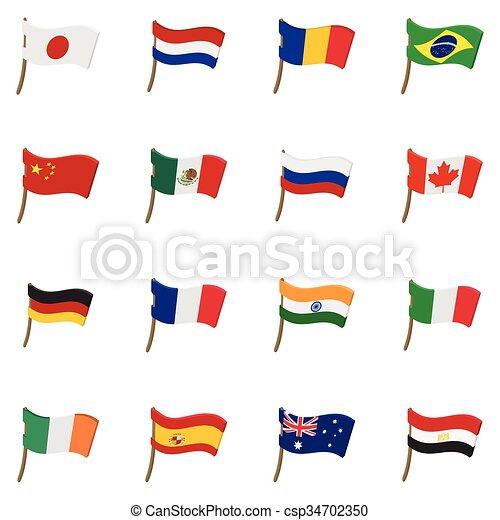Iconos de bandera, estilo de dibujos animados - csp34702350